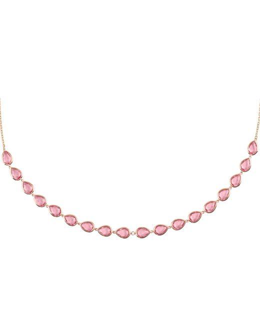 Latelita London Venice Long Chain Necklace Rose Gold Pink Tourmaline 5llsK5