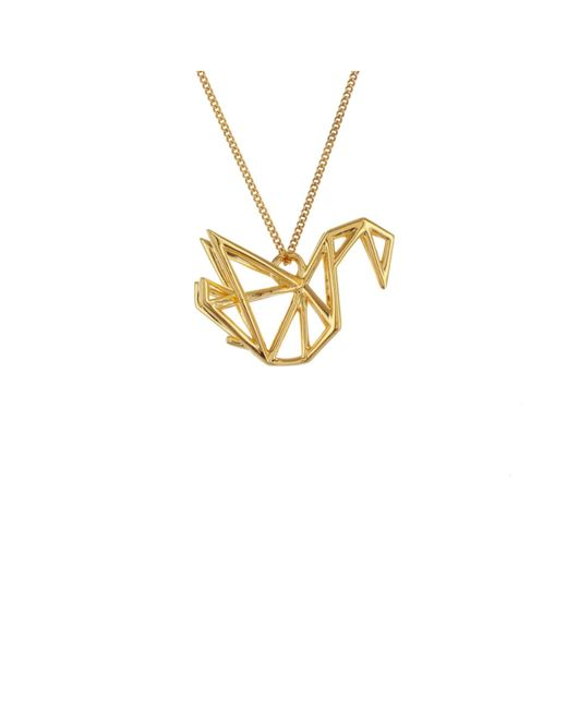 Origami Jewellery - Metallic Sterling Silver & Gold Frame Swan Origami Necklace - Lyst