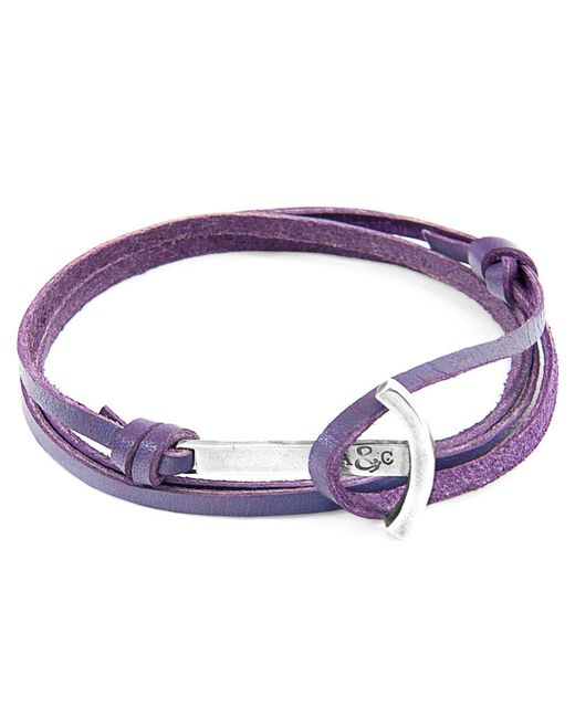 Anchor & Crew - Grape Purple Clipper Silver & Leather Bracelet for Men - Lyst