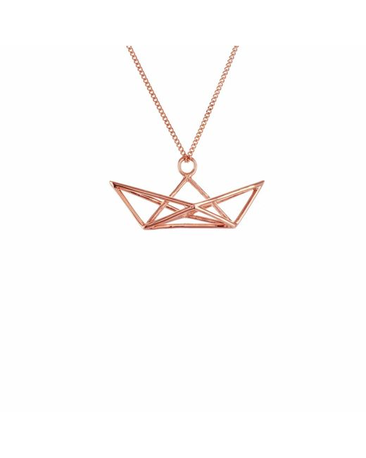 Origami Jewellery - Metallic Frame Boat Necklace Rose Gold - Lyst