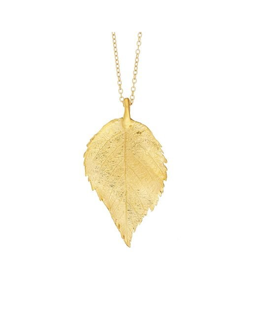 Chupi - Metallic Maxi Raspberry Leaf Necklace Gold - Lyst