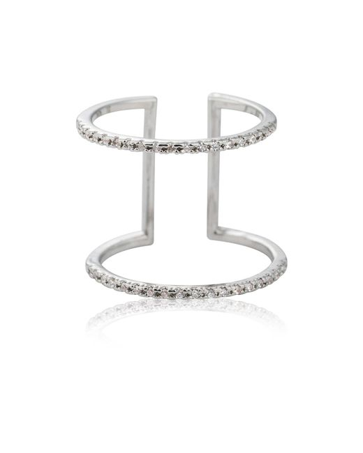 Astrid & Miyu   Metallic Double Bewitched Ring In Silver   Lyst
