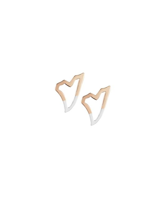 Tada & Toy | Metallic Shark Tooth Earring Rose Gold And Silver | Lyst