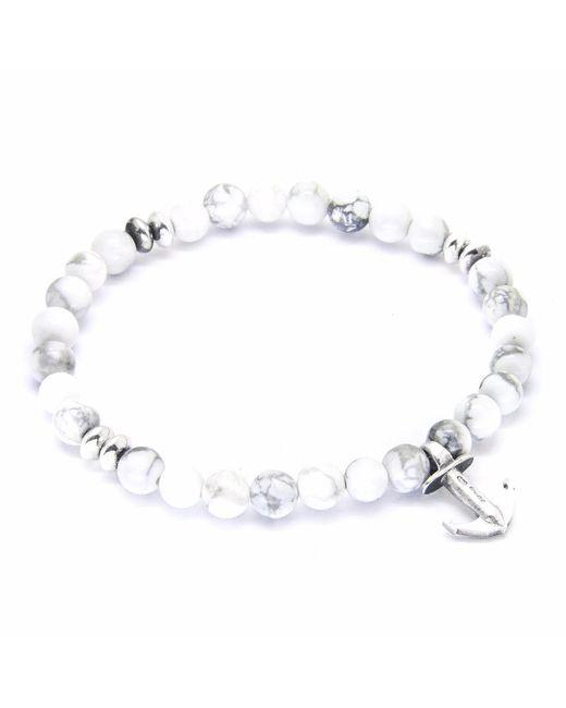 Anchor & Crew | White Noir Clyde Silver & Rope Bracelet for Men | Lyst