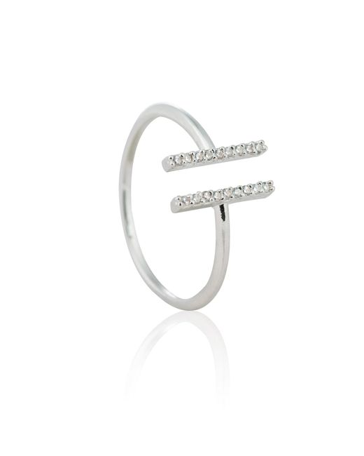 Astrid & Miyu | Metallic Chase Me Double Bar Ring In Silver | Lyst