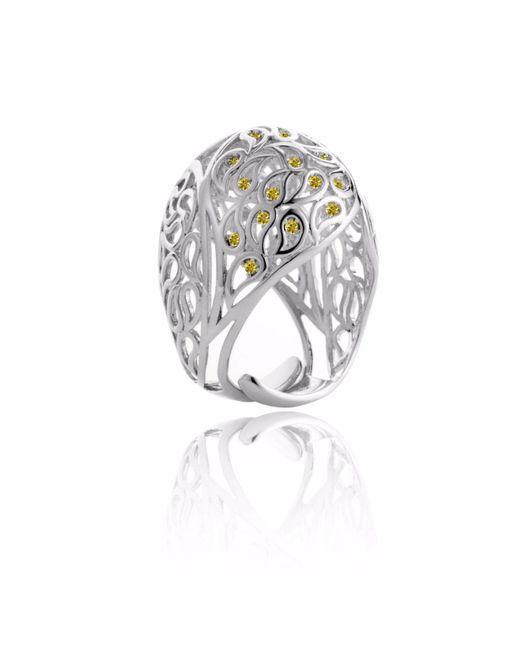 Sonal Bhaskaran | Metallic Shikhara Dome Ring Silver Yellow Cz | Lyst