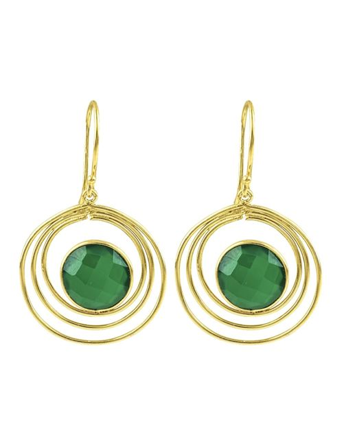 Carousel Jewels - Green Onyx & Gold Double Loop Earrings - Lyst