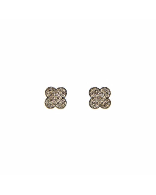Ri Noor | Metallic Diamond Four Leaf Flower Earrings | Lyst
