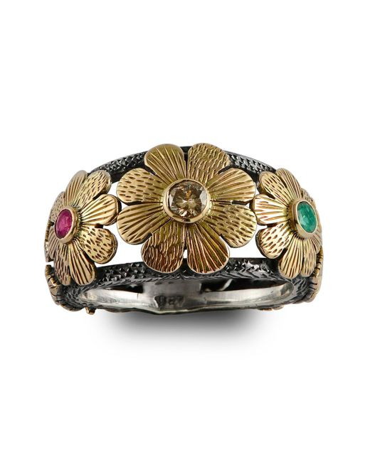 Emma Chapman Jewels | Metallic Diamond Ruby & Emerald Gold Flower Ring | Lyst