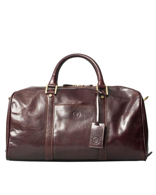 Maxwell Scott Bags | Luxury Italian Leather Small Travel Bag Fleros Dark Chocolate Brown for Men | Lyst