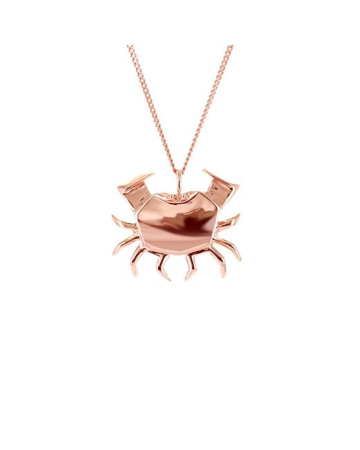 Origami Jewellery - Metallic Crab Necklace Rose Gold - Lyst