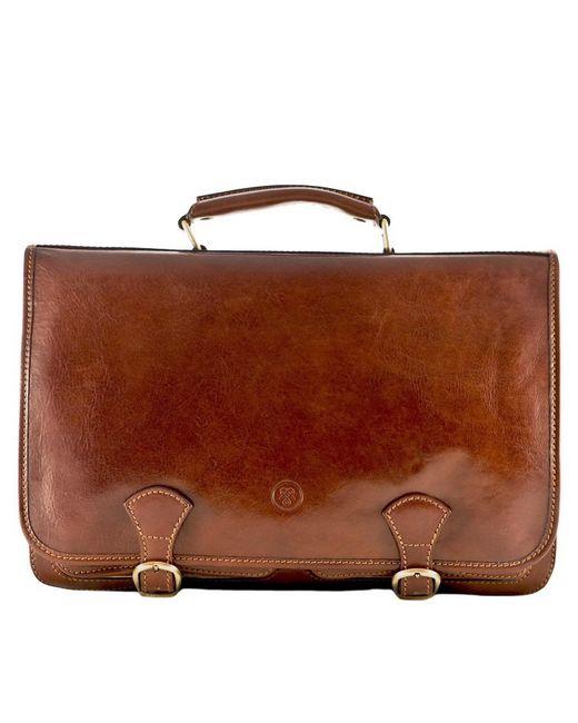 Maxwell Scott Bags | Brown Luxury Italian Leather Men's Satchel Briefcase Jesolo Classic Chestnut Tan for Men | Lyst