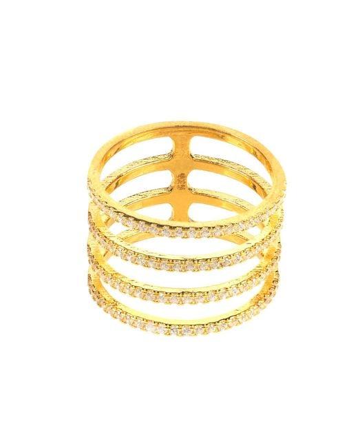 Latelita London | Metallic Four Line Geometric Fashion Ring Gold | Lyst