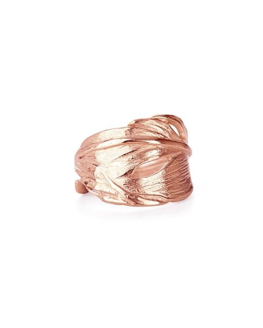 Chupi - Pink Swan Feather Ring Rose Gold - Lyst