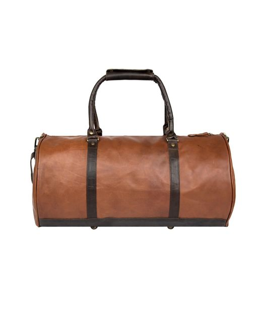 cd05bc08e207 ... MAHI Leather - Overnight gym Bag In Vintage Brown With Mahogany Detail  for Men ...