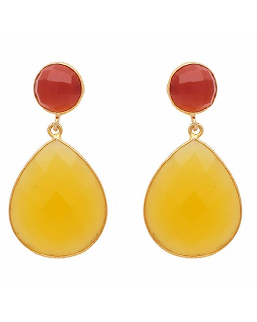 Carousel Jewels - Multicolor Carnelian & Yellow Chalcedony Double Drop Earrings - Lyst