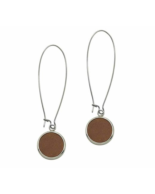 N'damus London - Brown Silverdale Tan Leather & Steel Drop Earrings - Lyst