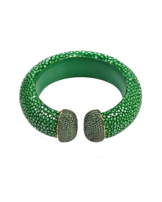 Latelita London | Stingray Cuff Gold Emerald Green | Lyst