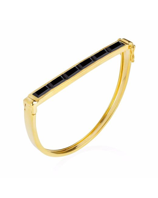 Neola - Metallic Equilibrium Gold Bangle With Black Onyx - Lyst