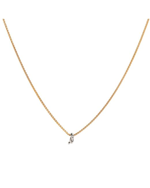 Dutch Basics | Metallic Gold Plated Necklace With Silver Knot Pendant | Lyst