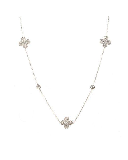 Latelita London | Metallic Lucky Clover Necklace Long Silver | Lyst