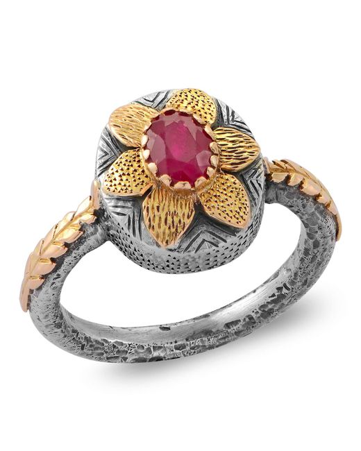 Emma Chapman Jewels - Red Lola Ruby Gold Flower Ring - Lyst