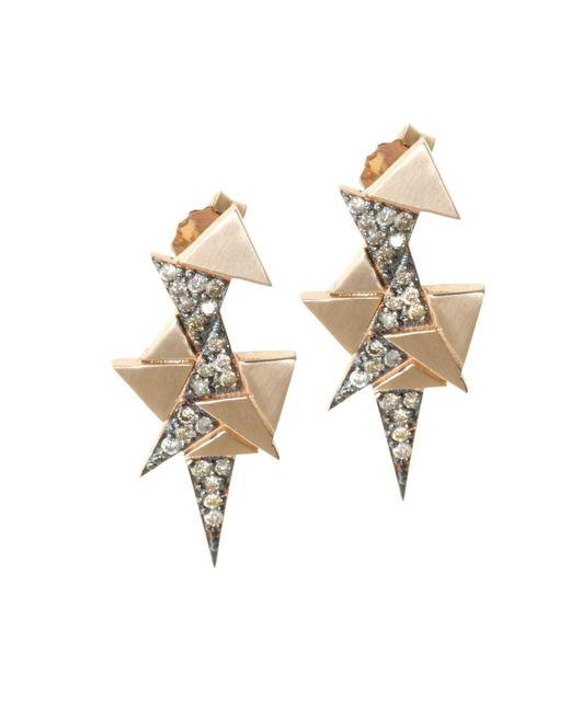 Sadekar Jewellery   Multicolor A Mixed Triangle Earrings White & Brown Diamonds   Lyst