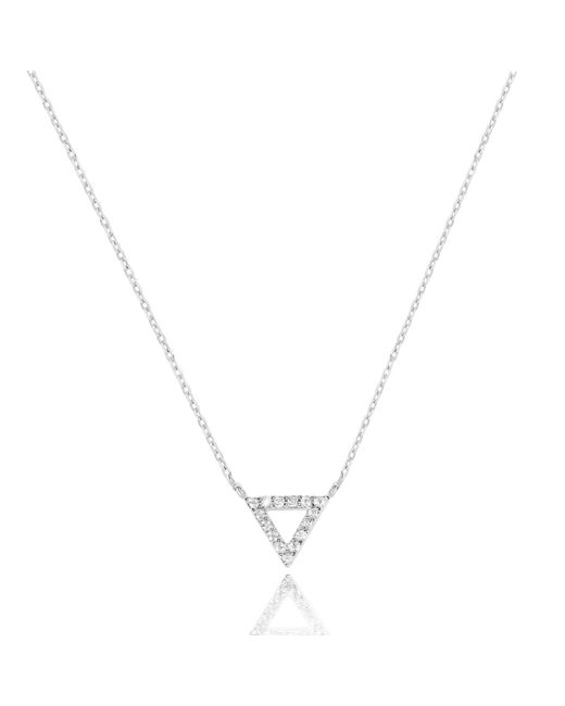 Astrid & Miyu - Metallic Tuxedo Triangle Necklace In Rhodium - Lyst
