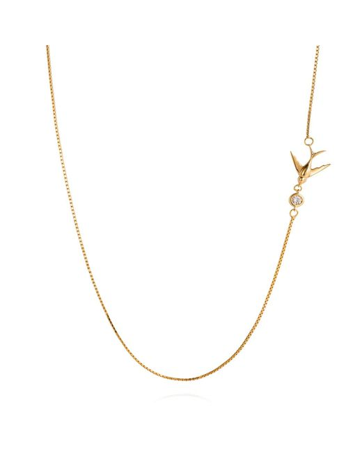 Lee Renee - Metallic Swallow Necklace White Sapphire & Gold - Lyst