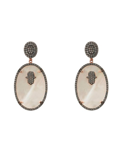Latelita - Hamsa White Mother Of Pearl Oval Earring - Lyst