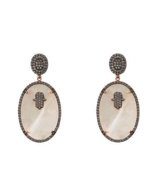 Latelita London | Metallic Hamsa White Mother Of Pearl Oval Earring | Lyst