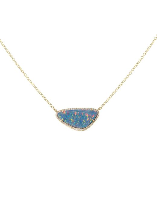 Ri Noor - Metallic Opal Slice Gold Necklace - Lyst