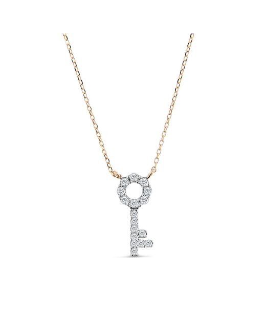 Cosanuova - Metallic Key Necklace In 14k Rose Gold - Lyst