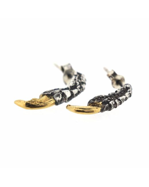 Tessa Metcalfe - Metallic Oxidised Pigeon Claw Studs With Gold Nails - Lyst