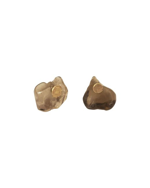 Lily Flo Jewellery - Brown Smokey Quartz Slice On Solid Gold Stud Earrings - Lyst