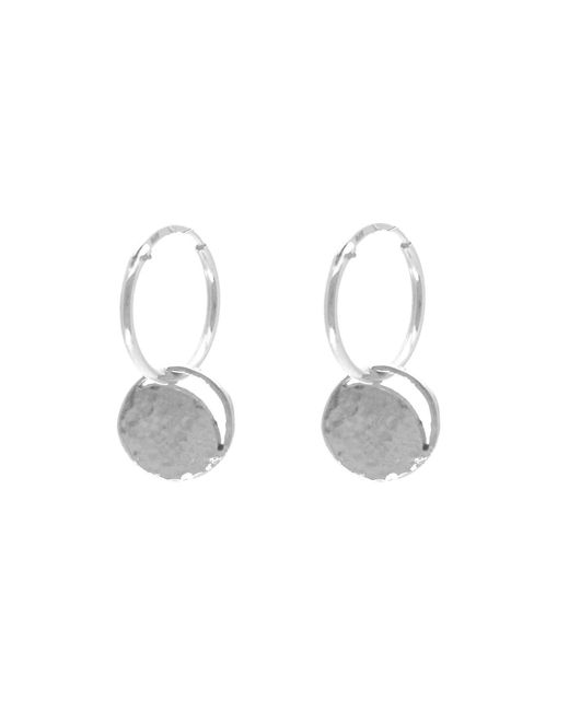KIND Jewellery | Metallic Mini Silver Crescent Lune Disc Hoop Earrings | Lyst