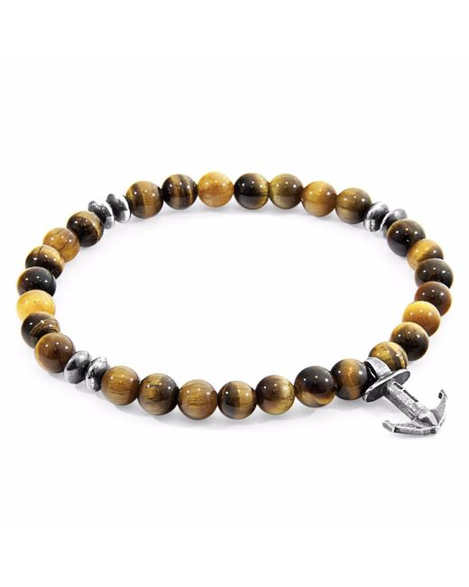 Anchor & Crew | Multicolor Brown Tigers Eye Starboard Silver & Stone Bracelet for Men | Lyst