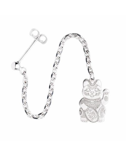 CarterGore - Metallic Silver Lucky Cat Single Long Drop Earring - Lyst