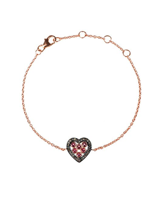 Latelita London - Diamond Heart Pink Tourmaline Bracelet Rosegold - Lyst