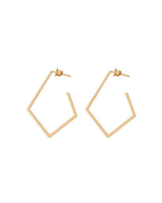 Dutch Basics - Metallic Ruit Creole Earrings Gold - Lyst