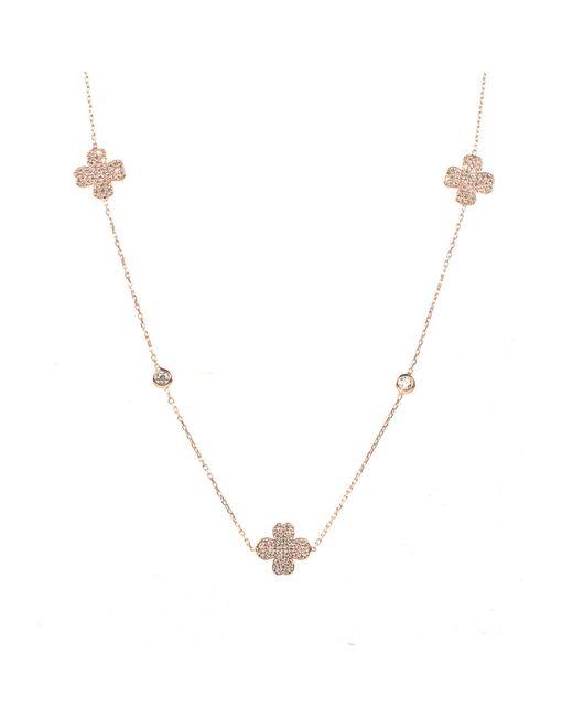 Latelita London | Metallic Lucky Clover Long Necklace Rosegold | Lyst