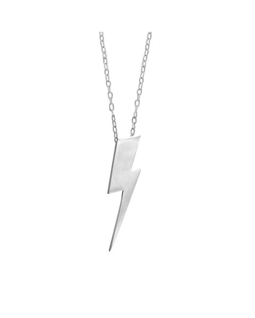 Edge Only - Metallic Flat Top Lightning Bolt Pendant Silver Long - Lyst