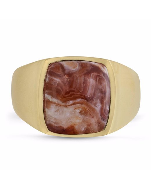 LMJ - Multicolor Red Lace Agate Iconic Stone Ring for Men - Lyst