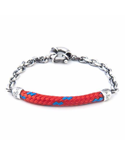 Anchor & Crew | Red Noir Union Silver & Rope Bracelet for Men | Lyst