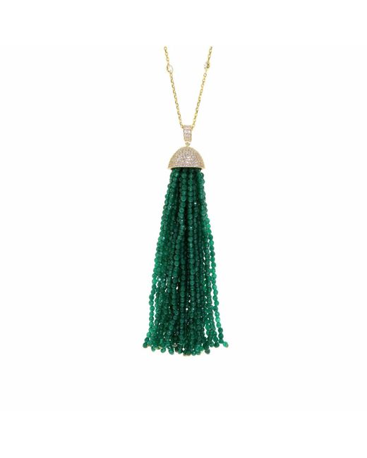 Cosanuova - Green Jade Tassel Necklace - Lyst