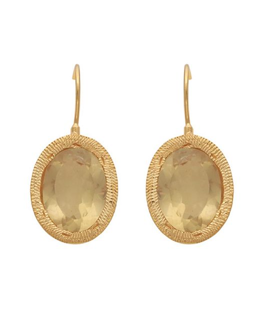 Carousel Jewels - Metallic Engraved Gold & Oval Lemon Topaz Earrings - Lyst