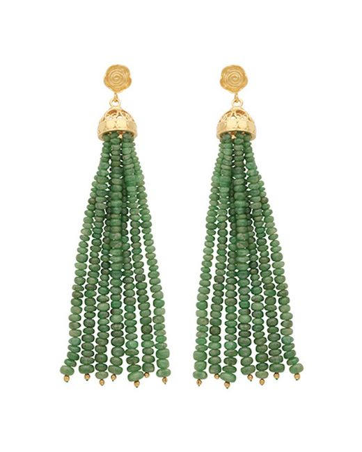 Carousel Jewels - Green Gold & Emerald Waterfall Earrings - Lyst