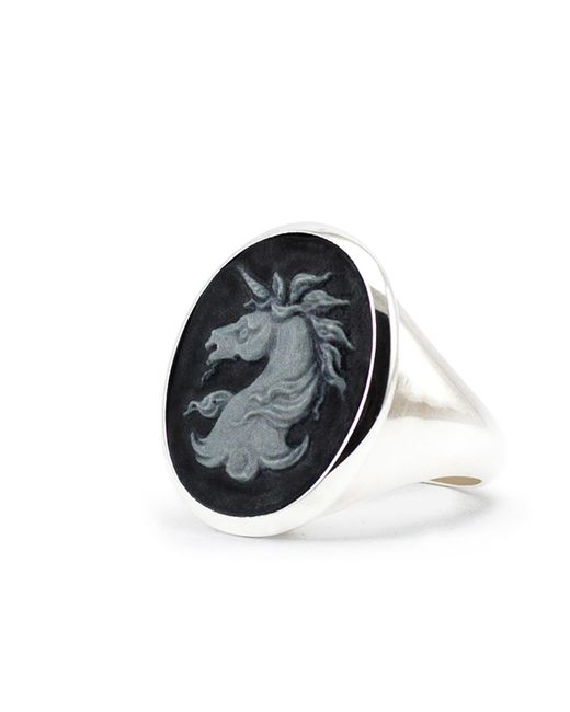 Vintouch Italy - Metallic Unicorn Cameo Signet Ring for Men - Lyst