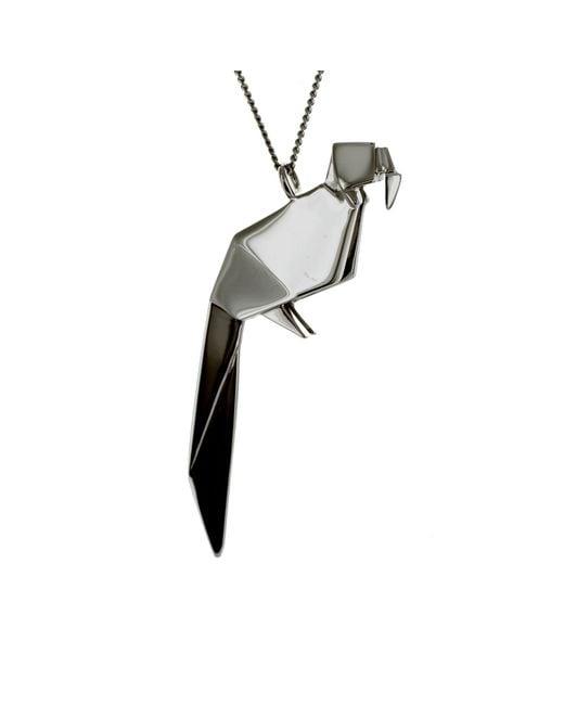 Origami Jewellery - Black Necklace Parrot Gun Metal - Lyst