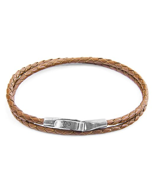 Anchor & Crew - Light Brown Liverpool Silver & Braided Leather Bracelet for Men - Lyst